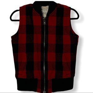Madewell Buffalo Plaid Sherpa Lined Zip Up Pocket Vest XS